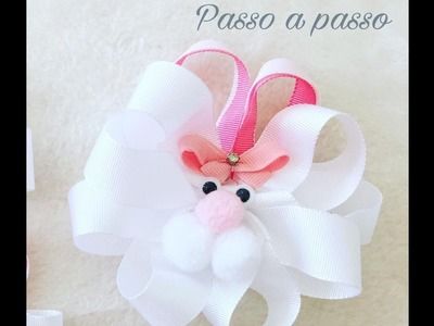 DIY, Laçarote coelho 3 -  - MAKE HAIR BOW RABBIT LAÇAROTE. PAP. TUTORIAL