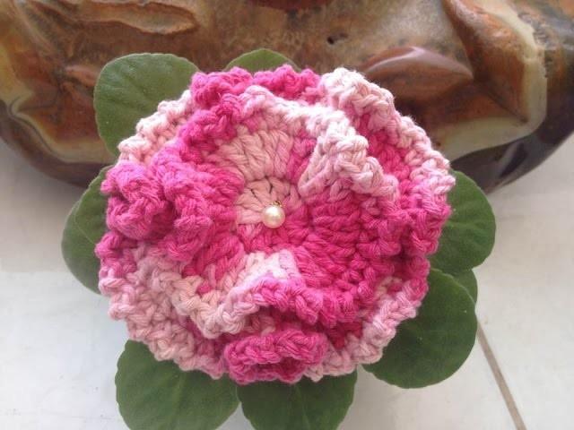 Flor #4 crochê. Flower #4 crochet - Professora Maria Rita