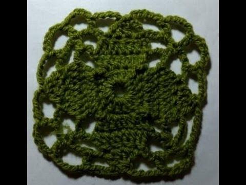 Motivo o Granny Square de hojas o flor a crochet o ganchillo