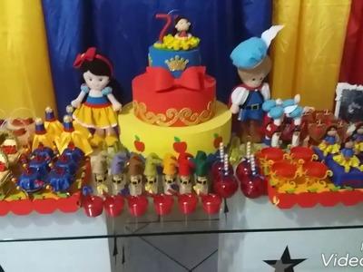 Preparativos festa Branca de Neve # Mari fez 7- Detalhes da decoração e fotos da festa bjos.