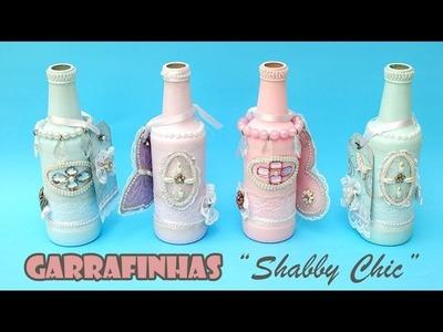 Garrafas Recicladas e Decoradas Estilo Shabby Chic ( ARTESANATO, DIY, RECICLAGEM )