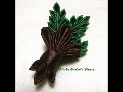 Kanzashi #114 - Como fazer Flor de Tecido Cetim , Broche Flor de Lis. Pin Lis flower! DIY - PAP.簪