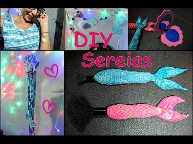 5 DIY: SEREIA || Pincéis de Maquiagem com Cauda de Sereia || + Bônus