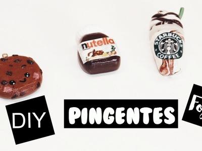 DIY :COMO FAZER  PINGENTES FOFOS - DE MASSA DE BISCUIT OU FIMO - NUTELLA, STARBUCKS, COOKIES