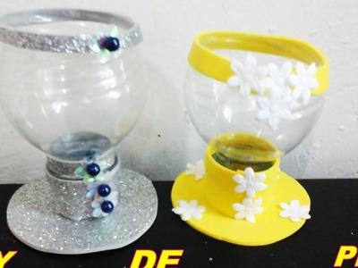 DIY TAÇA DE GARRAFA  PET. Faça você mesmo uma linda taça de decoração,utilizando garrafa pet e.v.a.