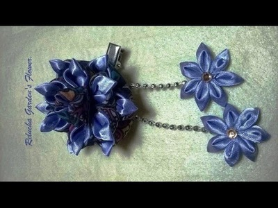 Kanzashi #121 - Como fazer Flor de Tecido Cetim e Organza - LINDA ! DIY. PAP - Flower. 簪