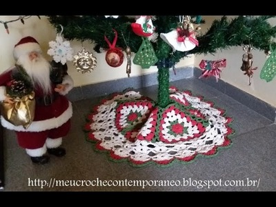 Tapete Saia para Árvore de Natal   Modelo Triângulos Natalinos, parte 1