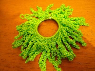 Como fazer uma xuxinha.prendedor par amarrar cabelo de crochê