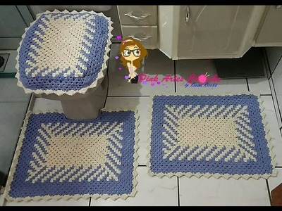 Passo a Passo jogo de banheiro em fio conduzido com efeito em diagonal - Pink Artes Croche