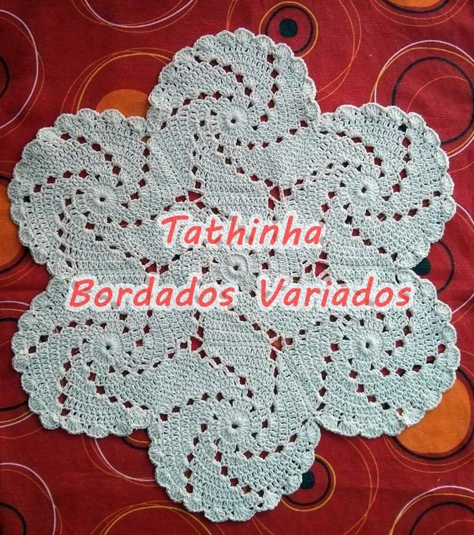 Tathinha Bordados 50 Tapete Em Croch Espiral Redondo Ou Tapete  -> Tapete De Croche Redondo Passo A Passo